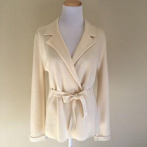Calvin Klein Knit Jacket Wrap Tie Sweater Cream L